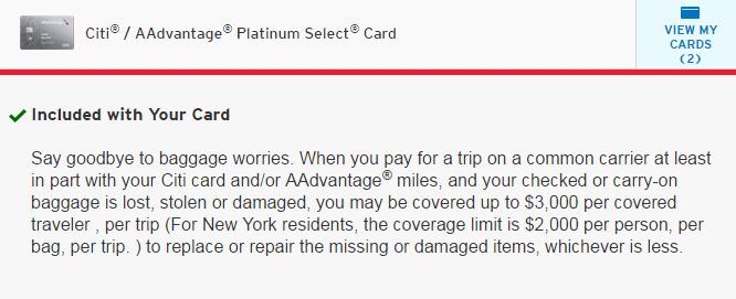 citi card luggage coverage